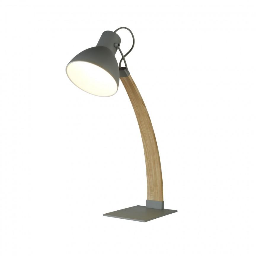 Veioza / Lampa de masa tip arc design lemn natural Nanna EU1039GY SRT, Cele mai noi produse 2020 a