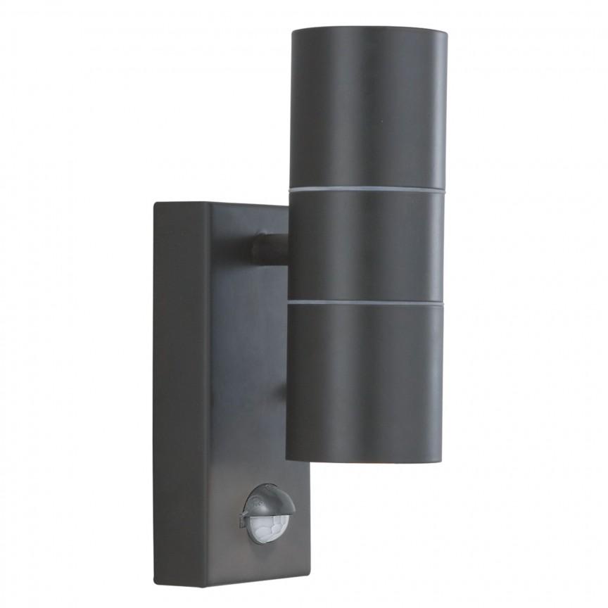 Aplica perete exterior cu senzor de miscare Up and Down 7008-2BK-LED SRT, Iluminat cu senzor de miscare,  a