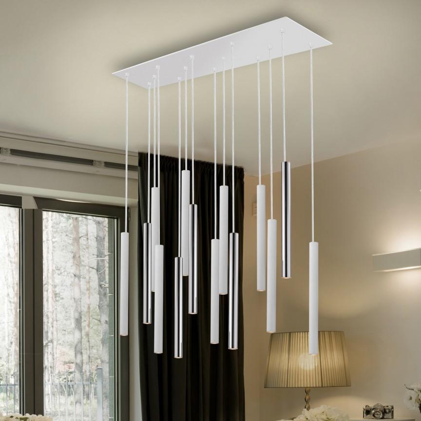 Lustra LED dimabila cu telecomanda design modern Varas alb/crom SV-373416D, Lampi LED si Telecomanda,  a