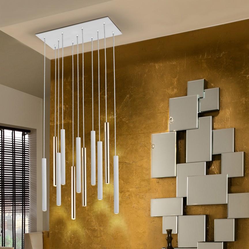 Lustra LED dimabila cu telecomanda design modern Varas alb/crom SV-373342D, Lampi LED si Telecomanda,  a