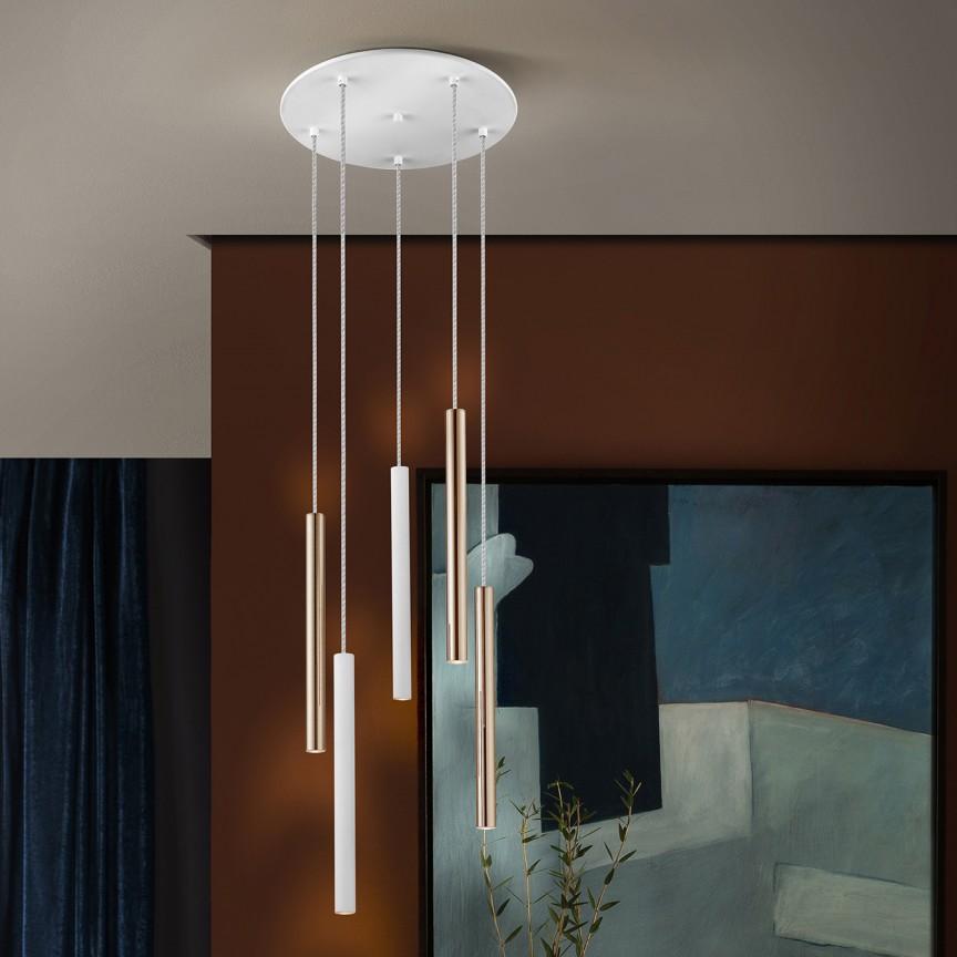 Lustra LED dimabila cu telecomanda design modern Varas alb/auriu SV-373101D, Lampi LED si Telecomanda,  a