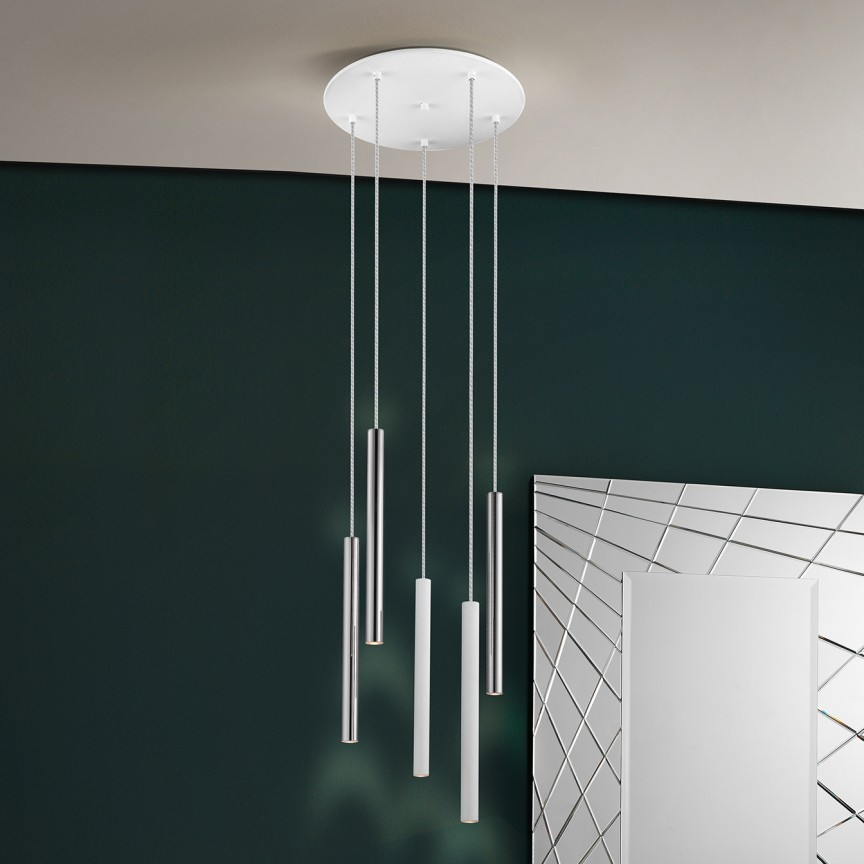 Lustra LED dimabila cu telecomanda design modern Varas alb/crom SV-373123D, Lampi LED si Telecomanda,  a