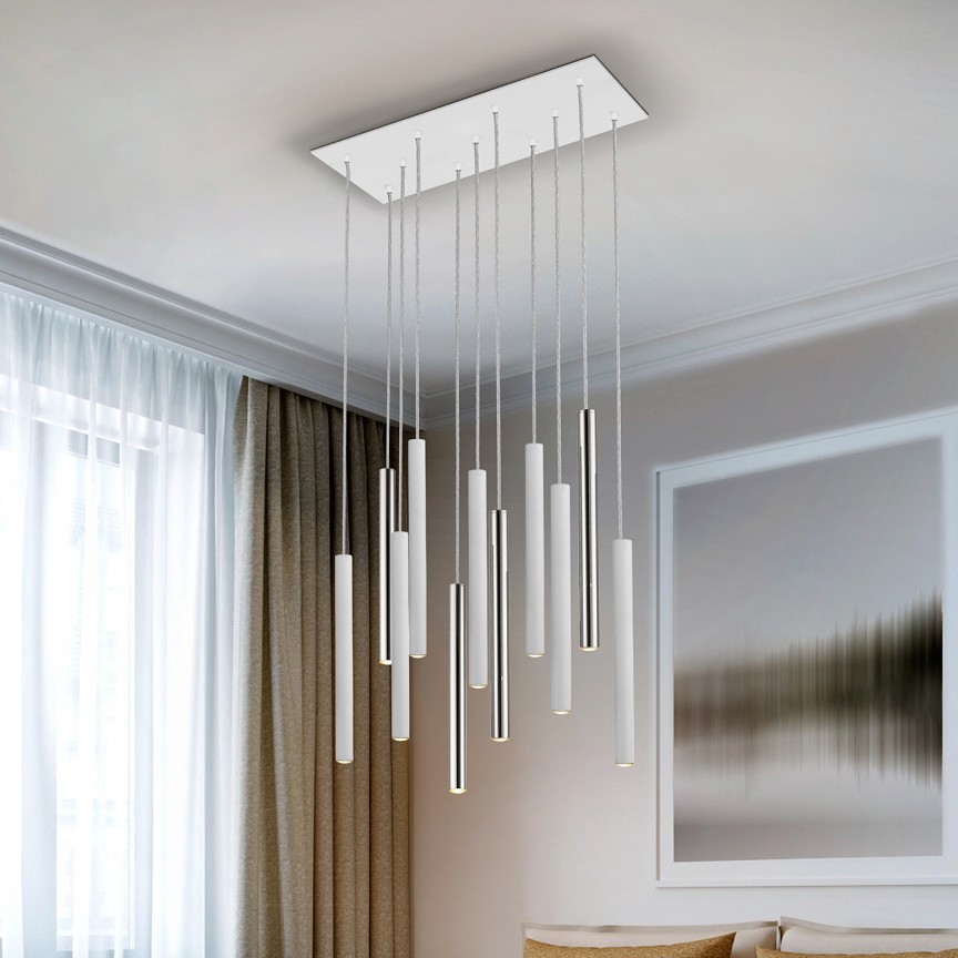 Lustra LED dimabila cu telecomanda design modern Varas alb/crom SV-373378D, Lampi LED si Telecomanda,  a