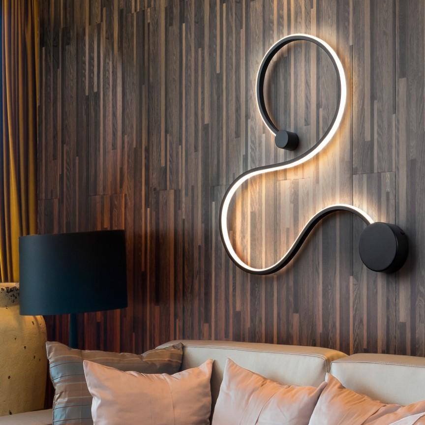Aplica de perete LED design modern decorativ Grafos negru SV-227117, Aplice de perete moderne, LED⭐ modele potrivite pentru iluminat living dormitor, bucatarie, hol.✅DeSiGn decorativ actual 2021!❤️Promotii lampi❗ ➽ www.evalight.ro. Alege oferte NOI corpuri de iluminat interior elegante de tip lustre aplicate de perete si tavan pt camere casa, ieftine si de lux, calitate deosebita la cel mai bun pret. a