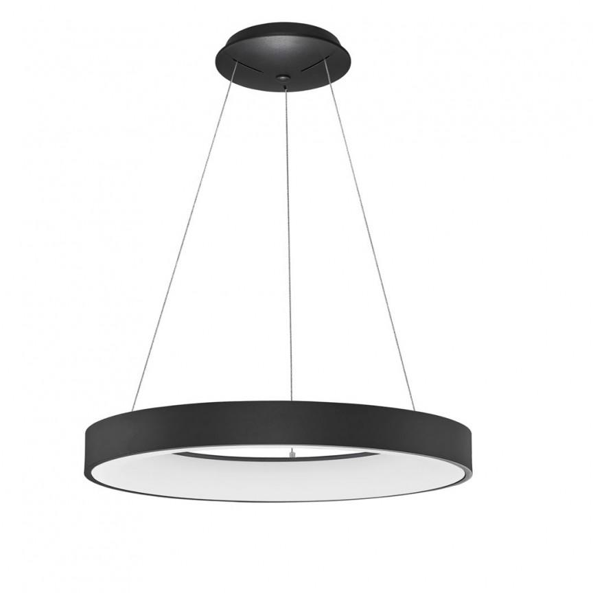 Lustra LED moderna wireless design circular Rando Smart neagra, Lampi LED si Telecomanda,  a