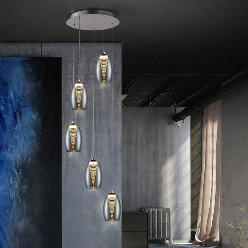 Lustra LED dimabila cu telecomanda Nebula 5L SV-584438D, Lampi LED si Telecomanda,  a
