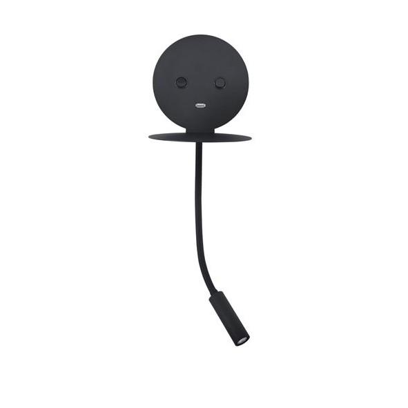 Aplica ambientala cu reader LED directionabil si USB Charger Eclip neagra NVL-9173282, Aplice de perete LED, Corpuri de iluminat, lustre, aplice, veioze, lampadare, plafoniere. Mobilier si decoratiuni, oglinzi, scaune, fotolii. Oferte speciale iluminat interior si exterior. Livram in toata tara.  a