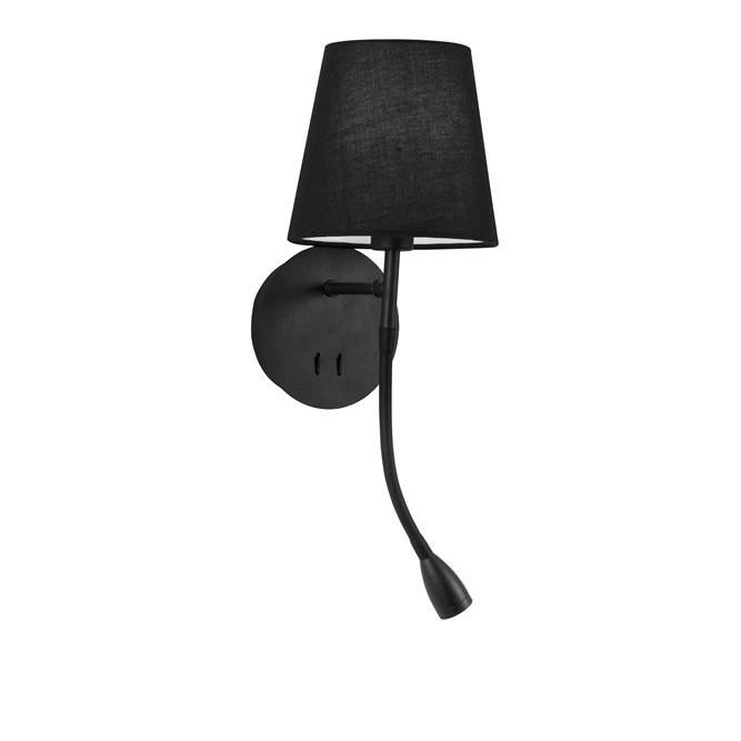 Aplica de perete moderna cu reader LED Nia neagra NVL-9182372, Magazin, Corpuri de iluminat, lustre, aplice, veioze, lampadare, plafoniere. Mobilier si decoratiuni, oglinzi, scaune, fotolii. Oferte speciale iluminat interior si exterior. Livram in toata tara.  a