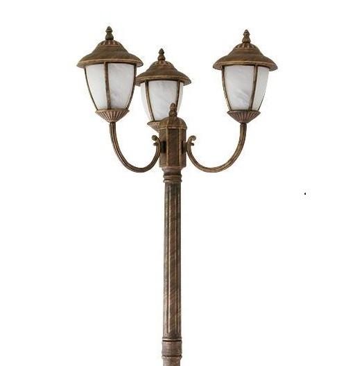 Stalp exterior cu 3 brate, H-212cm, IP43, auriu antic Madrid 8379 RX, Stalpi de iluminat exterior mari, Corpuri de iluminat, lustre, aplice, veioze, lampadare, plafoniere. Mobilier si decoratiuni, oglinzi, scaune, fotolii. Oferte speciale iluminat interior si exterior. Livram in toata tara.  a