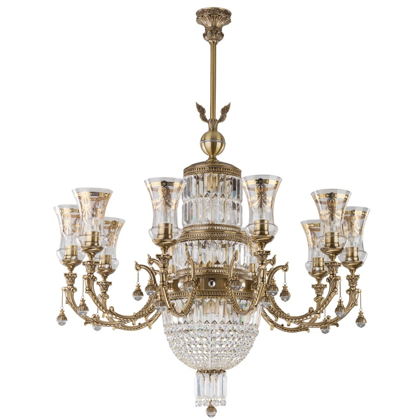 Candelabru regal, elegant design LUX, cristal Swarovski Sienna, Lustre casa scarii,  a