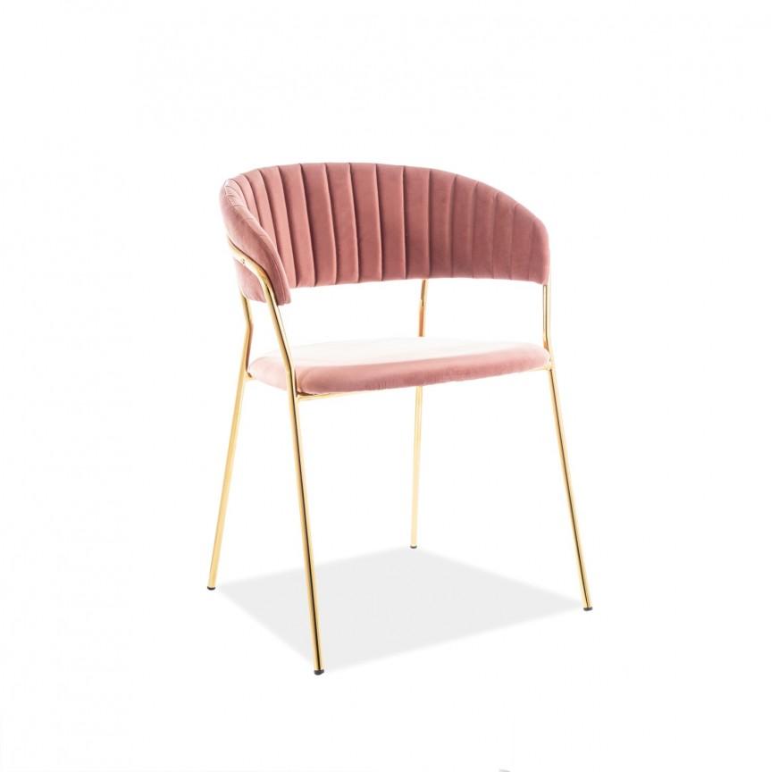 Scaun elegant catifea roz LIRA LIRAVZLRA SM, Scaune dining , Corpuri de iluminat, lustre, aplice, veioze, lampadare, plafoniere. Mobilier si decoratiuni, oglinzi, scaune, fotolii. Oferte speciale iluminat interior si exterior. Livram in toata tara.  a