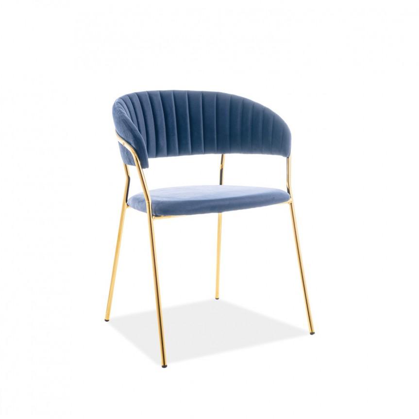 Scaun elegant catifea albastra LIRA LIRAVZLGR SM, Scaune dining , Corpuri de iluminat, lustre, aplice, veioze, lampadare, plafoniere. Mobilier si decoratiuni, oglinzi, scaune, fotolii. Oferte speciale iluminat interior si exterior. Livram in toata tara.  a