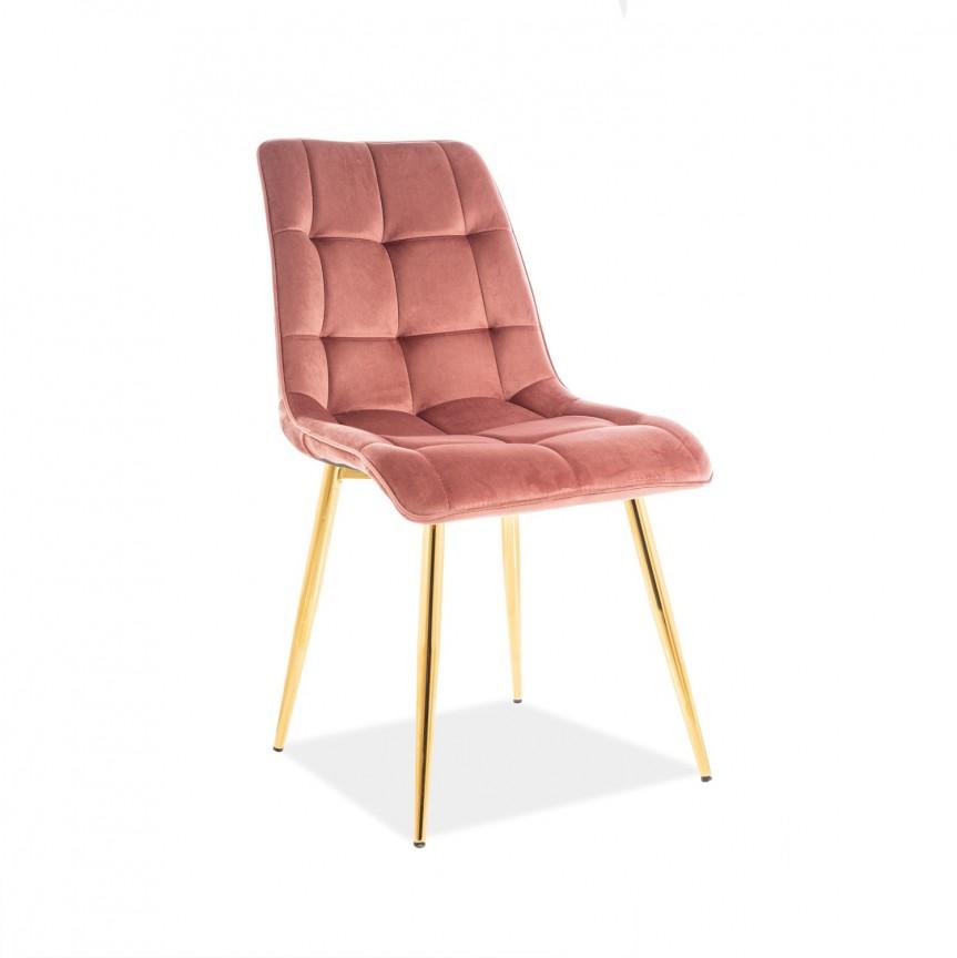 Scaun elegant catifea roz CHIC CHICVZLRA SM, Scaune dining , Corpuri de iluminat, lustre, aplice, veioze, lampadare, plafoniere. Mobilier si decoratiuni, oglinzi, scaune, fotolii. Oferte speciale iluminat interior si exterior. Livram in toata tara.  a