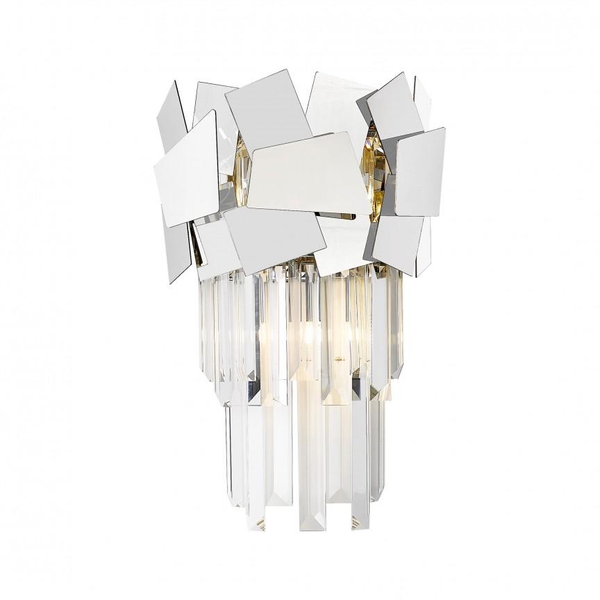 Aplica de perete moderna design decorativ original QUASAR, argintiu W0506-02A-B5AC ZL, Aplice de perete moderne, Corpuri de iluminat, lustre, aplice, veioze, lampadare, plafoniere. Mobilier si decoratiuni, oglinzi, scaune, fotolii. Oferte speciale iluminat interior si exterior. Livram in toata tara.  a