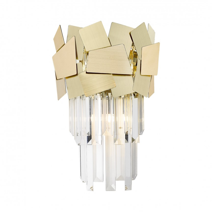 Aplica de perete moderna design decorativ original QUASAR, auriu W0506-02A-B5E3 ZL, Aplice de perete moderne, Corpuri de iluminat, lustre, aplice, veioze, lampadare, plafoniere. Mobilier si decoratiuni, oglinzi, scaune, fotolii. Oferte speciale iluminat interior si exterior. Livram in toata tara.  a