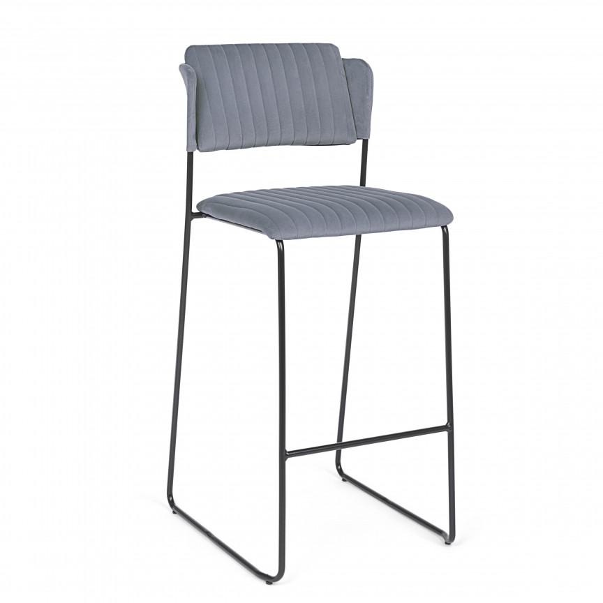 Set de 2 scaune de bar BEATRICE catifea gri 0710623 BZ, Scaune de bar,  a