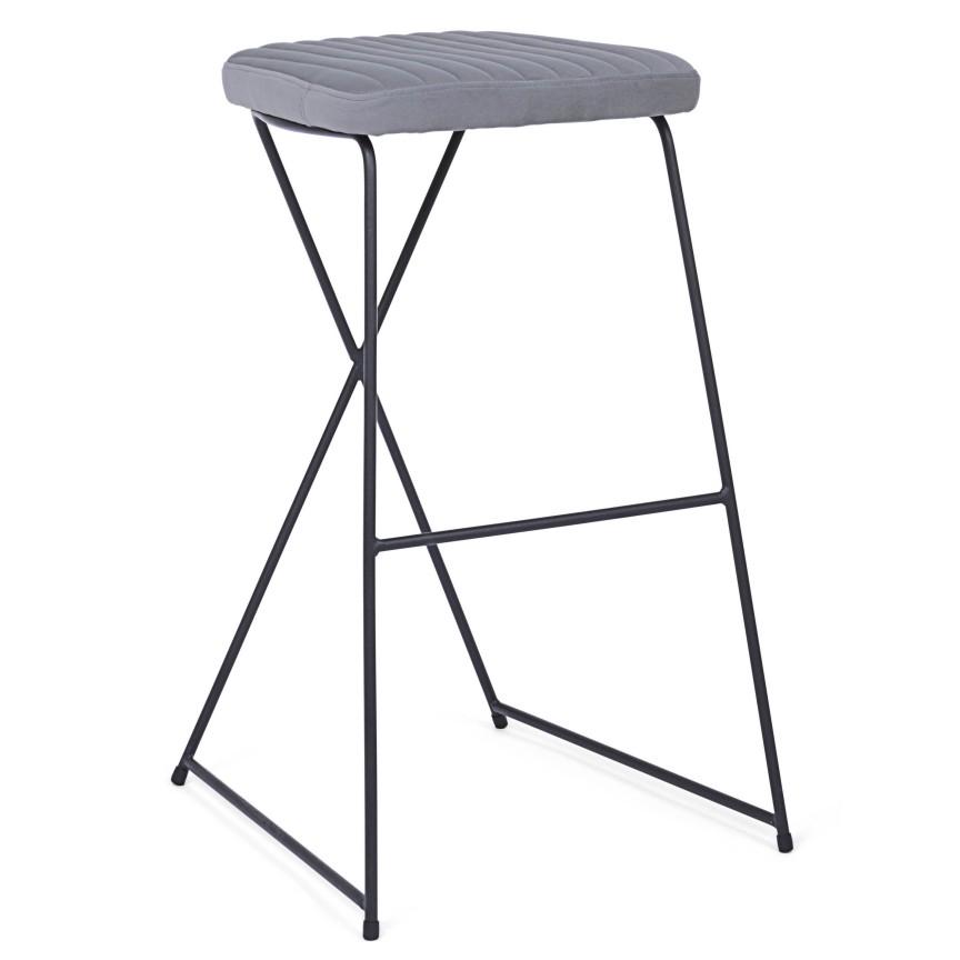 Set de 2 scaune de bar KINSLEY catifea gri 0710626 BZ, Scaune de bar,  a