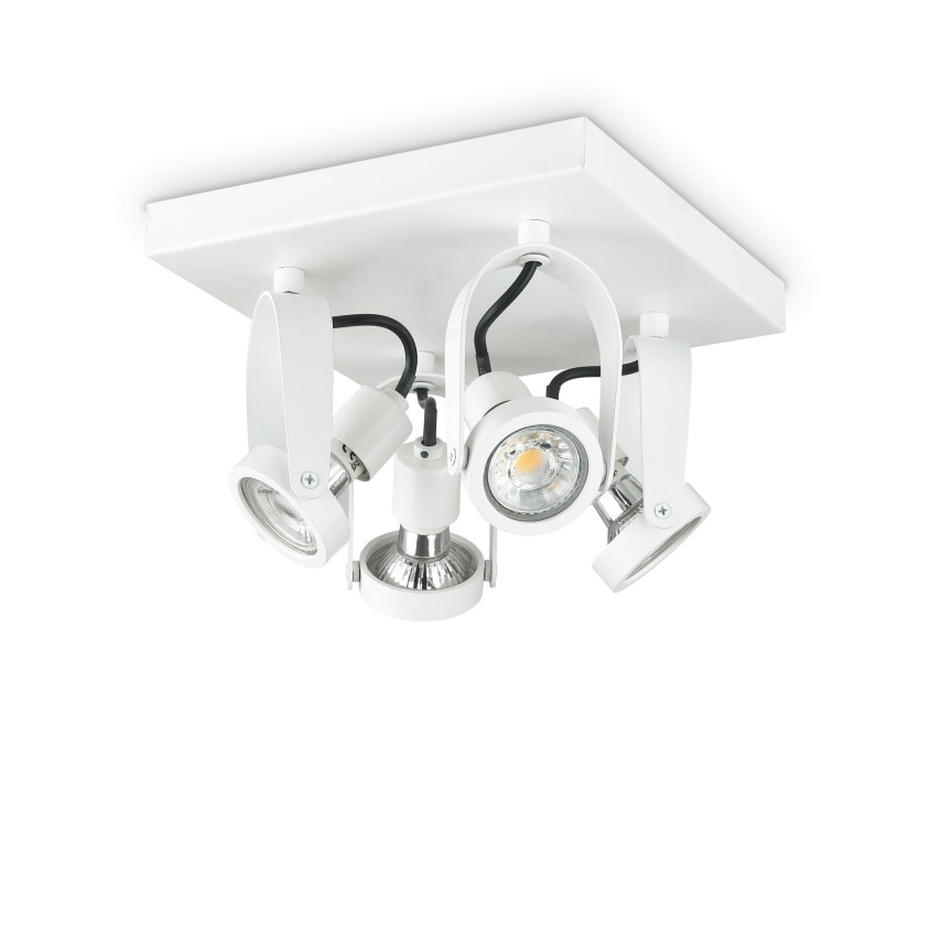 Plafoniera cu spoturi directionabile GLIM COMPACT PL4 SQUARE BIANCO 229614 IDL, Plafoniere moderne,  a