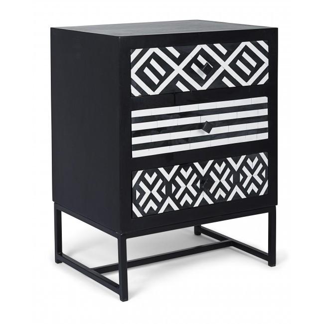 Noptiera cu sertare design elegant JANESH, negru 0746663 BZ, Paturi - Noptiere dormitor,  a