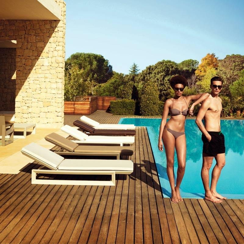 Sezlong exterior modern design premium FRAME SUN CHAISE 54097 Vondom, Mobilier terasa si gradina,  a
