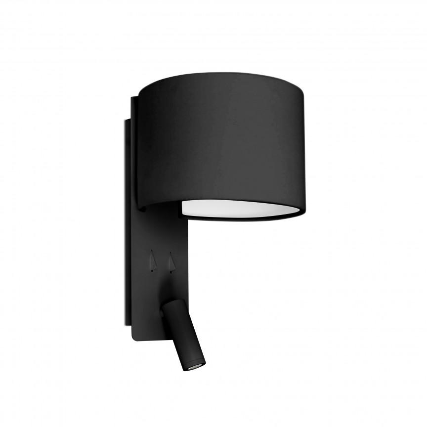 Aplica moderna cu reader LED FOLD Black 64305, Aplice de perete LED, moderne⭐ modele potrivite pentru dormitor,living,baie,hol,bucatarie.✅Design premium actual Top 2020!❤️Promotii lampi❗ ➽ www.evalight.ro. Alege oferte la corpuri de iluminat cu LED pt tavan interior, (becuri cu leduri si module LED integrate cu lumina calda, naturala sau rece), ieftine si de lux, calitate deosebita la cel mai bun pret.  a