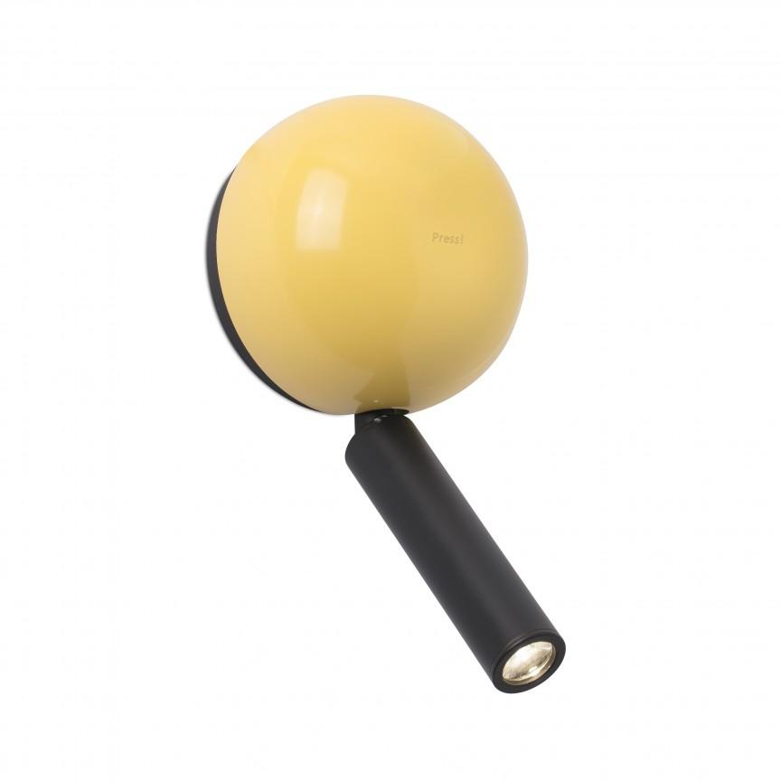 Aplica cu reader LED stil modern minimalist PRESS Yellow, Aplice de perete LED,  a
