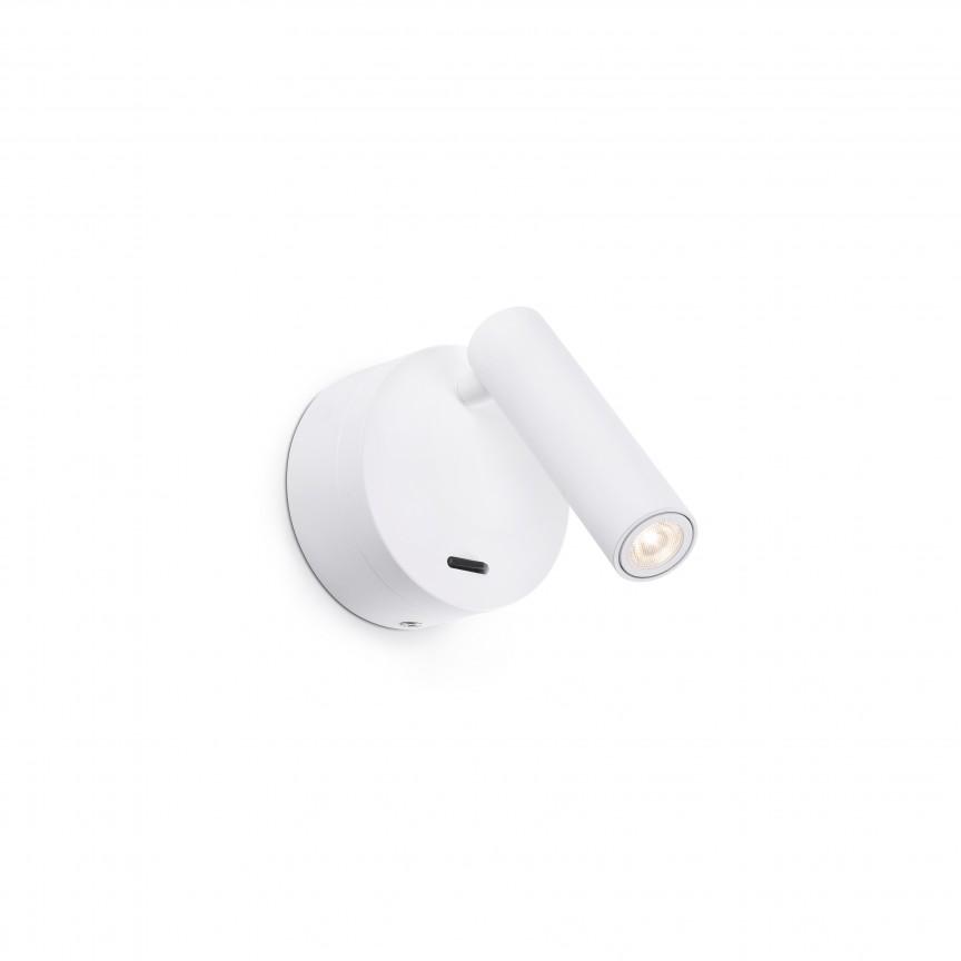Aplica moderna cu reader LED design minimalist BOC alba, Aplice de perete LED,  a
