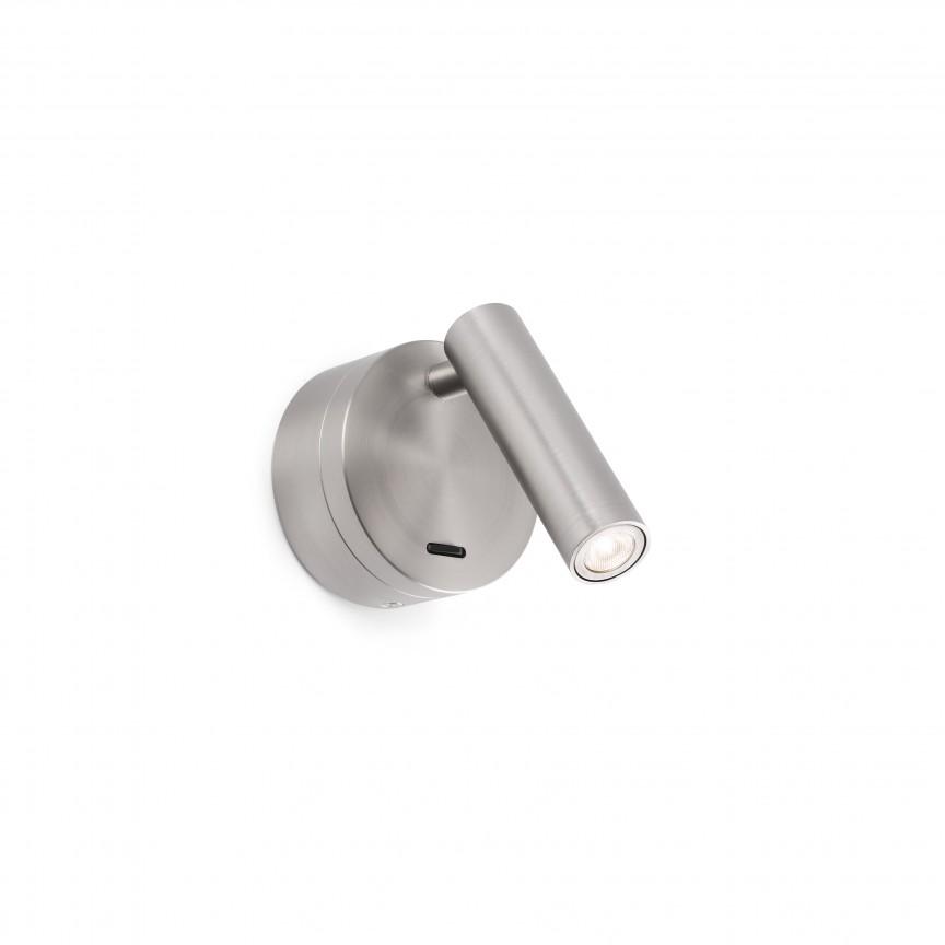 Aplica moderna cu reader LED design minimalist BOC nickel satin, Aplice de perete simple,  a
