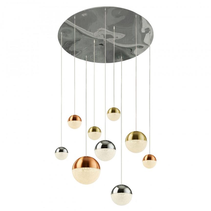 Lustra design modern cu 9 pendule LED Planets 9 4519-9 SRT, Candelabre, Lustre moderne,  a