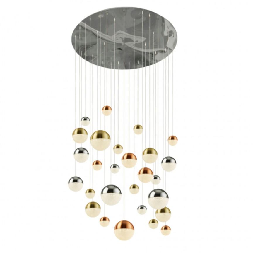 Lustra design modern cu 27 pendule LED Planets 27 4527-27 SRT, Candelabre, Lustre moderne,  a