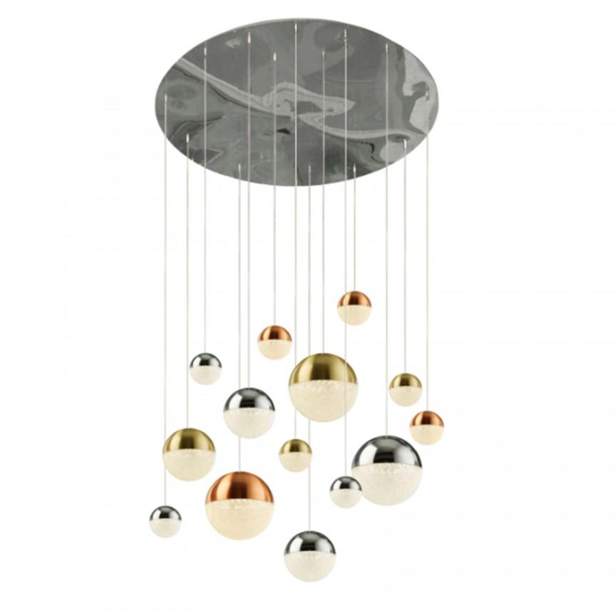 Lustra design modern cu 14 pendule LED Planets 14 4514-14 SRT, Candelabre, Lustre moderne,  a