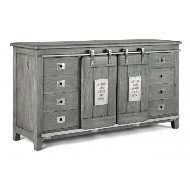Comoda design industrial cu 8 sertare JUPITER, lemn gri 0746584 BZ, Dulapuri - Comode,  a