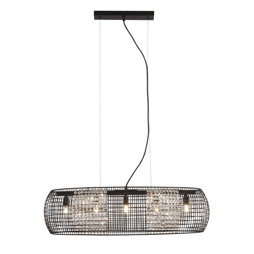 Lustra ovala suspendata Cage 5lt Black 9095-5BK SRT, Candelabre, Lustre moderne,  a