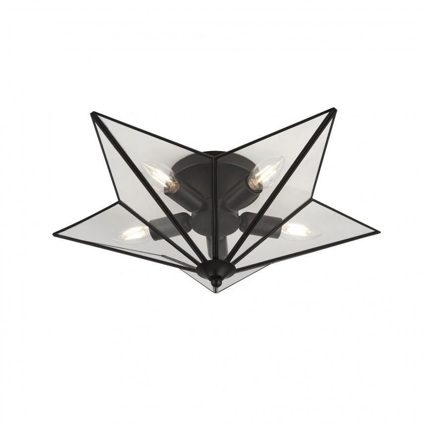 Lustra aplicata moderna in forma de stea Star 5lt negru 9085-5BK SRT, Lustre moderne aplicate,  a