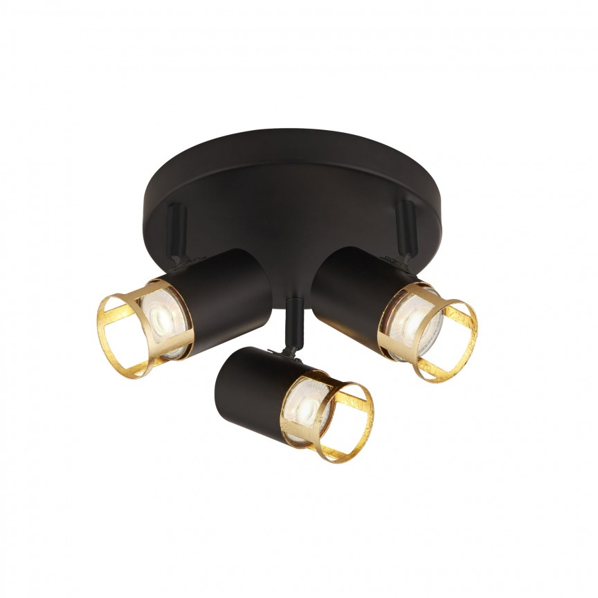 Lustra cu 3 spoturi directionabile Laser 3lt negru/ auriu 3483-3BG SRT, Lustre / Plafoniere cu 3 spoturi, LED⭐ modele moderne potrivite pentru tavan hol, dormitor, living, baie, bucatarie, camera copii.✅ Design premium actual Top 2020! ❤️Promotii lampi❗ ➽ www.evalight.ro. Alege oferte la corpuri de iluminat (rotunde si patrate) ieftine si de lux, calitate deosebita la cel mai bun pret. a