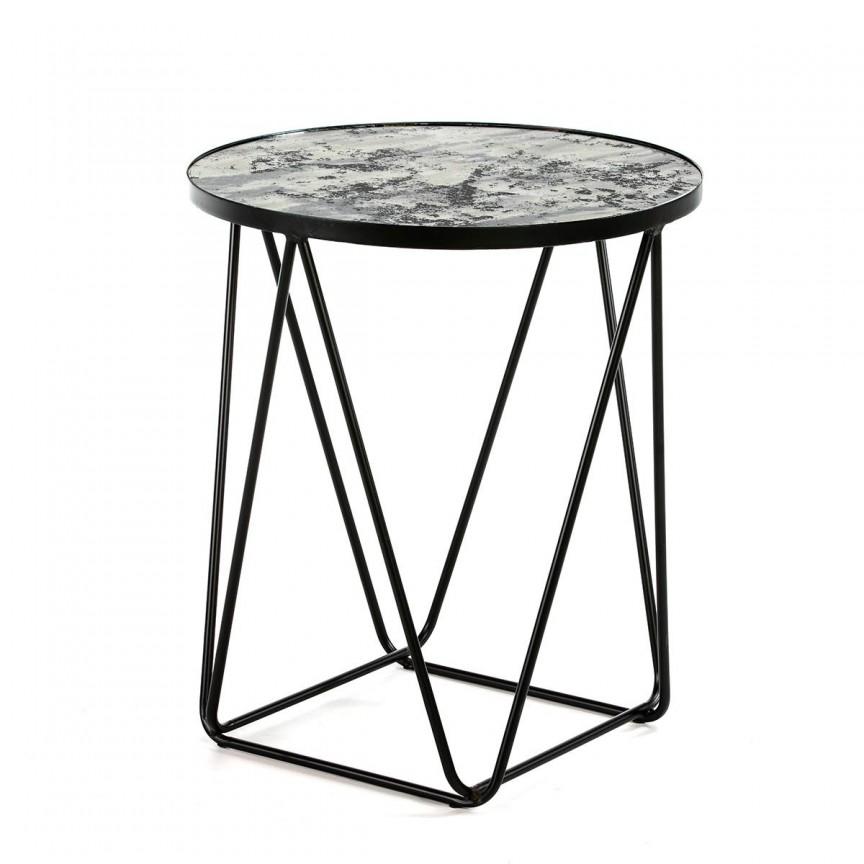 Masuta laterala design indutrial Alvina D-60cm, negru 13262/00 TN, Masute de cafea,  a