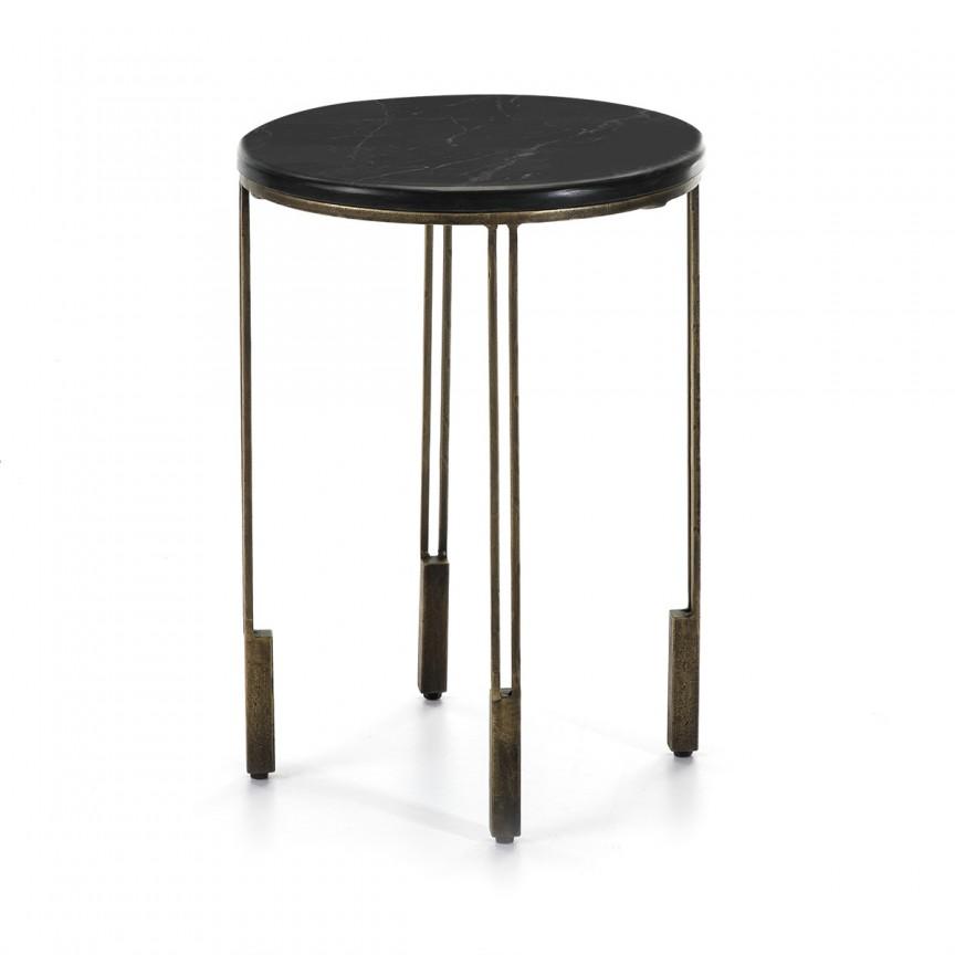 Masuta laterala design deosebit Stone Black D-41cm 66584/00 TN, Masute de cafea,  a