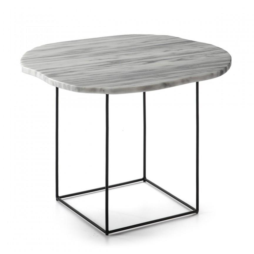 Masuta laterala design deosebit Marble White H-45cm 40471/00 TN, Masute de cafea,  a