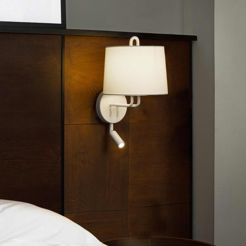 Aplica perete cu reader LED moderna design elegant MONTREAL alba, Aplice de perete moderne,  a