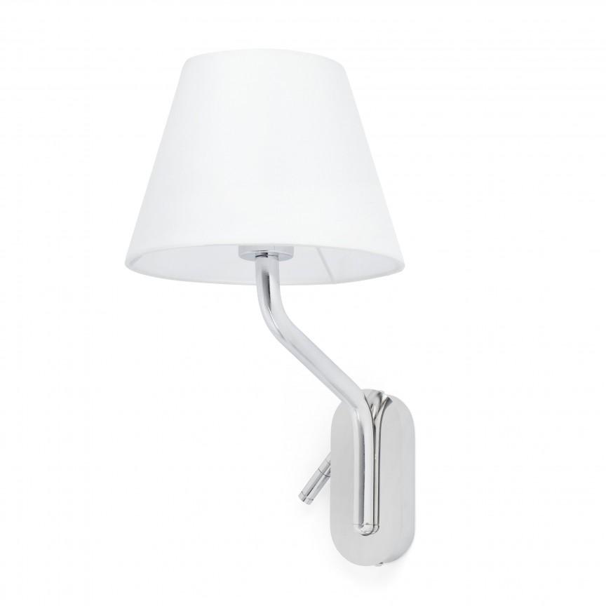 Aplica cu reader LED pe dreapta design elegant ETERNA crom/alb, Aplice de perete moderne,  a