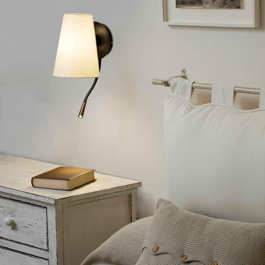Aplica cu reader LED moderna design elegant LUPE negru/bej, Aplice de perete moderne,  a