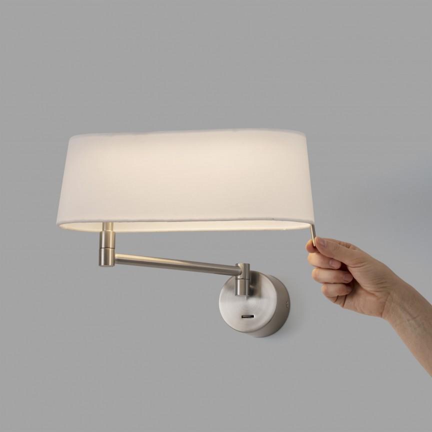 Aplica LED moderna directionabila design elegant DESLIZ nickel/alb, Aplice de perete LED,  a