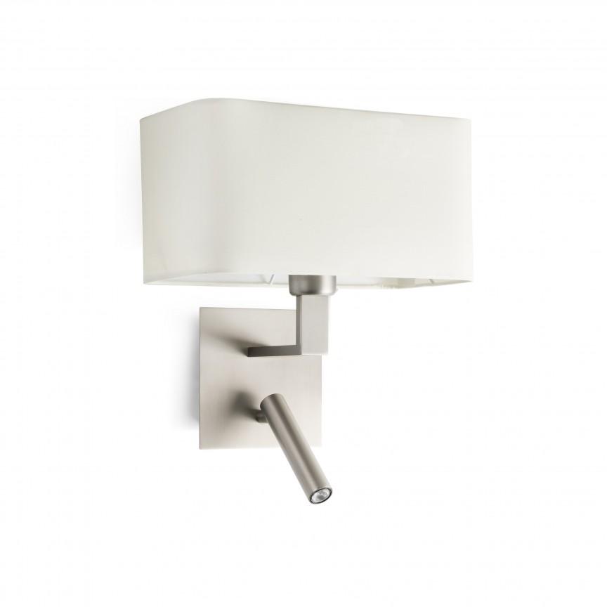 Aplica cu reader LED design modern HANNA nickel/bej, Aplice de perete moderne,  a