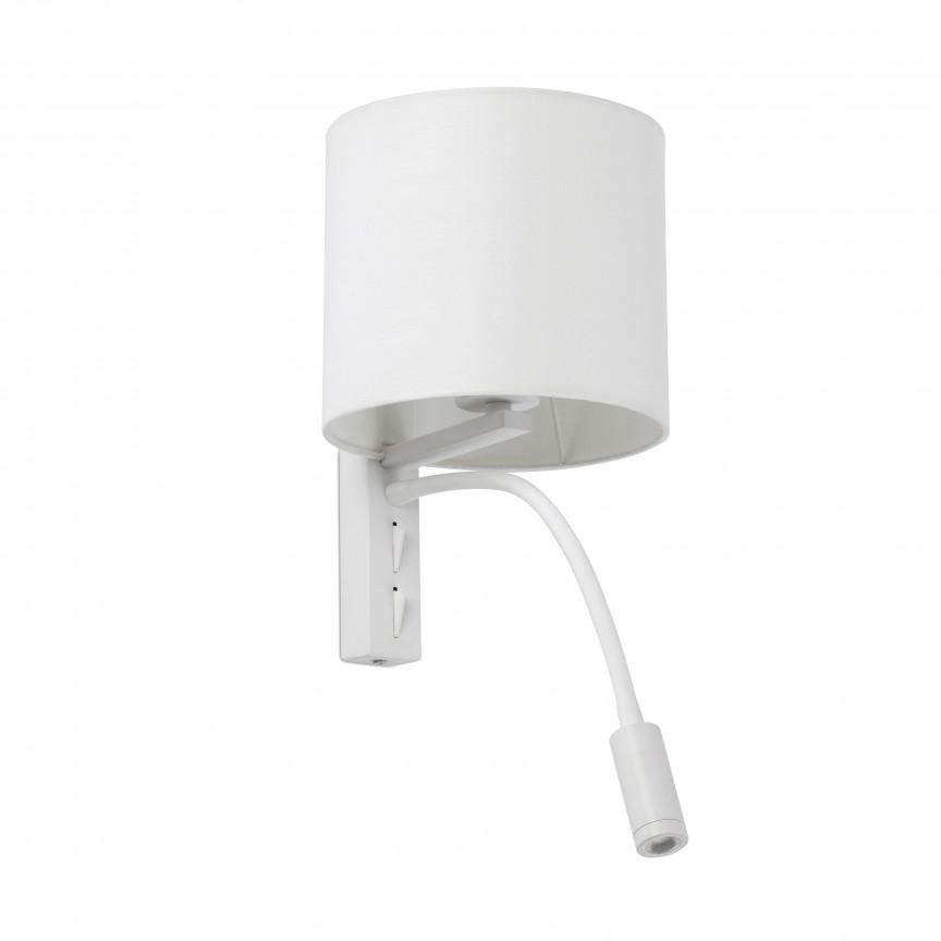 Aplica perete cu reader LED design modern TIRA alba, Aplice de perete moderne,  a