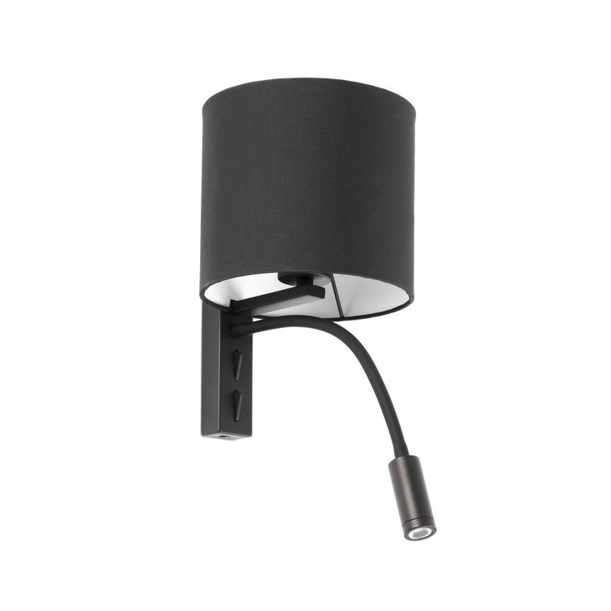 Aplica perete cu reader LED design modern TIRA neagra, Aplice de perete moderne,  a