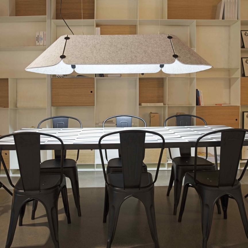 Lustra LED pentru birouri design modern FONOVIA gri, Candelabre, Lustre moderne,  a