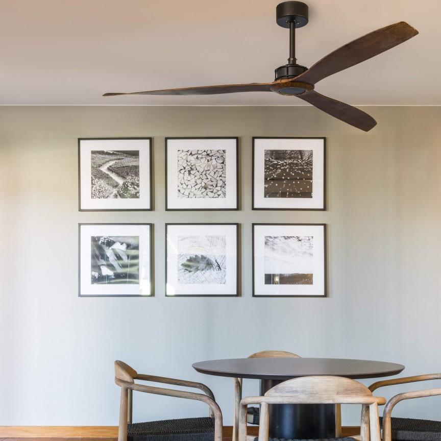 Ventilator de tavan cu telecomanda design modern JUSTFAN lemn/negru, Cele mai noi produse 2020 a