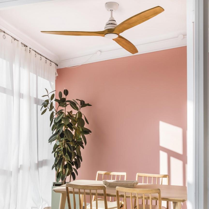 Lustra LED cu Ventilator si telecomanda design modern ALO alb/lemn, Cele mai noi produse 2020 a
