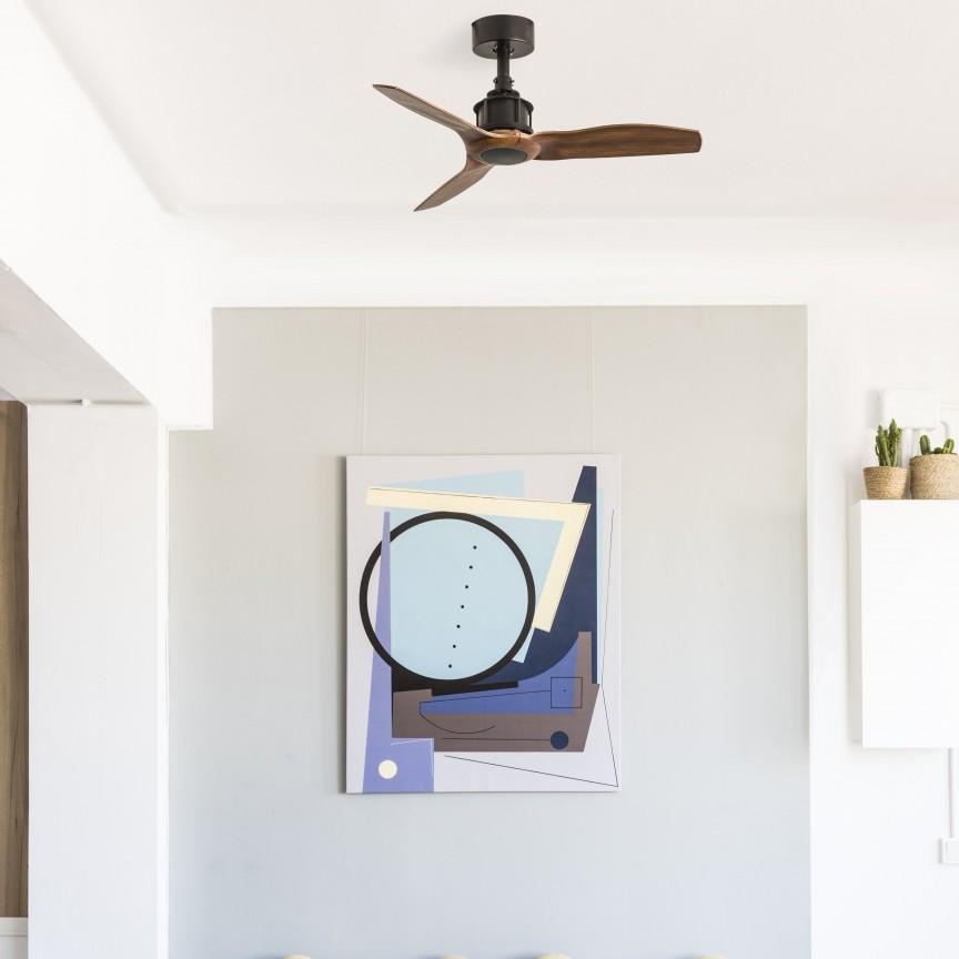 Ventilator de tavan cu telecomanda design modern JUST FAN negru/lemn nuc, Lustre cu ventilator de tavan⭐ modele moderne de ventilatoare cu iluminat LED (lumina) si telecomanda.✅Sisteme de ventilatie profesionale pt ventilare casa sau birou.❤️Promotii candelabre cu ventilator❗ ➽www.evalight.ro. Alege oferte la corpuri de iluminat cu ventilator de plafon sau de perete pentru camera: living, baie, bucatarie, dormitor, ieftine sau de lux, calitate premium la cel mai bun pret! a