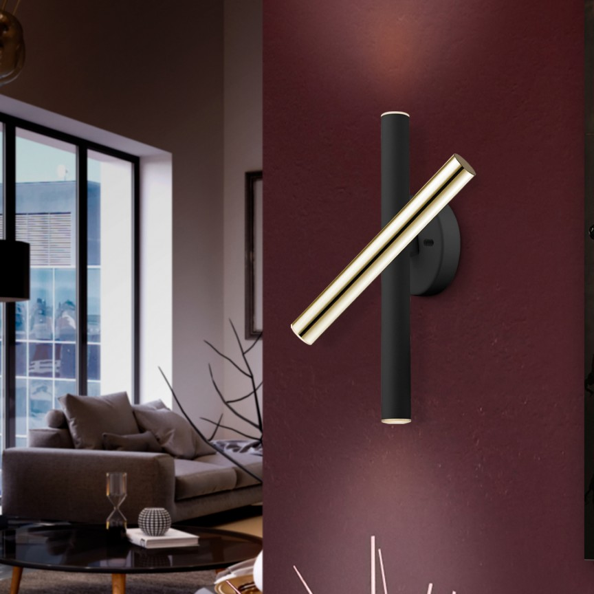 Aplica LED de perete design ultra-modern Varas negru/auriu, Aplice de perete LED, moderne⭐ modele potrivite pentru dormitor,living,baie,hol,bucatarie.✅Design premium actual Top 2020!❤️Promotii lampi❗ ➽ www.evalight.ro. Alege oferte la corpuri de iluminat cu LED pt tavan interior, (becuri cu leduri si module LED integrate cu lumina calda, naturala sau rece), ieftine si de lux, calitate deosebita la cel mai bun pret.  a